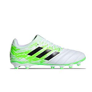 adidas Copa 20.3 MG - Botas de fútbol de piel adidas MG para césped artificial - blancas y verdes - pie derecho