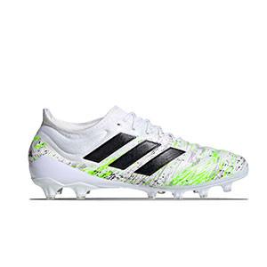 adidas Copa 20.1 AG - Botas de fútbol de piel de canguro adidas AG para césped artificial - blancas y amarillas flúor - derecho