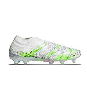 adidas Copa 20+ FG - Botas de fútbol de piel de canguro sin cordones adidas FG para césped natural o artificial de última generación - blancas y amarillas flúor - derecho