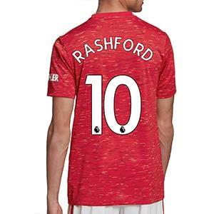 Camiseta adidas Rashford United 2020 2021 - Camiseta primera equipación de Marcus Rashford del Manchester United 2020 2021 – roja - trasera