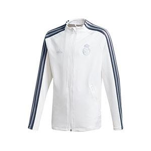 Chaqueta adidas Real Madrid niño himno 2020 2021 - Chaqueta infantil himno adidas Real Madrid CF 2020 2021 - blanca - frontal