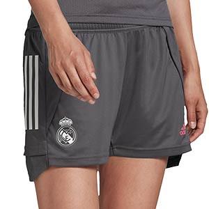 Short adidas Real Madrid mujer entreno 2020 2021 - Pantalón corto de entrenamiento adidas del Real Madrid 2020 2021 - gris - frontal