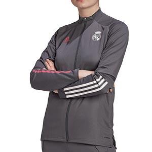 Chaqueta adidas R Madrid entreno mujer 2020 2021 - Chaqueta entrenamiento mujer adidas del Real Madrid 2020 2021 - gris - frontal