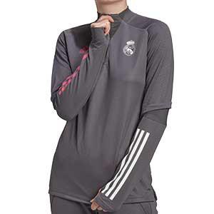 Sudadera adidas R Madrid entreno mujer 2020 2021 - Sudadera de entrenamiento de mujer del Real Madrid 2020 2021 - gris - frontal