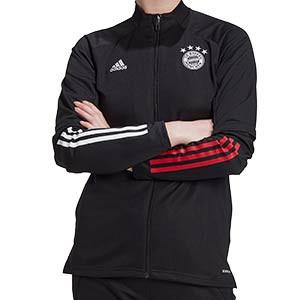 Chaqueta adidas Bayern entreno mujer 2020 2021 - Chaqueta de entrenamiento de mujer del Bayern de Munich 2020 2021 - negro - frontal
