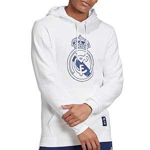 Sudadera adidas Real Madrid DNA Hoodie - Sudadera con capucha de algodón adidas del Real Madrid 2020 2021 - blanca - frontal
