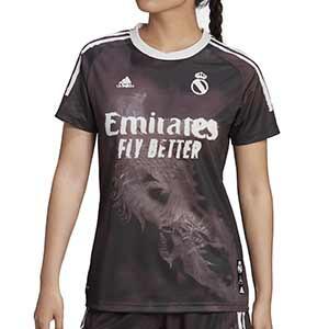 Camiseta adidas 4a R Madrid 2020 2021 mujer Human Race - Camiseta de mujer cuarta equipación adidas Real Madrid 2020 2021 colección Human Race - negra - frontal