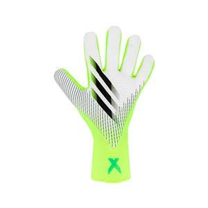 adidas X Pro - Guantes de portero profesionales adidas corte negativo - blancos y amarillos flúor - frontal