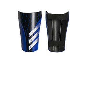 adidas Predator Training - Espinilleras de fútbol adidas con cintas de velcro - azules y negras - frontal