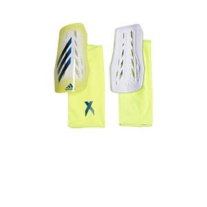 adidas X League - Espinilleras de fútbol adidas con mallas de sujeción - amarillas - frontal