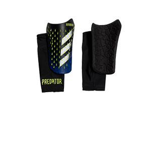 adidas Predator Competition - Espinilleras de fútbol adidas con mallas de sujeción - negras y azules - frontal