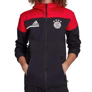 Chaqueta adidas Bayern himno 2020 2021 ZNE - Chaqueta con capucha himno adidas Bayern de Munich 2020 2021 - negra y roja - frontal