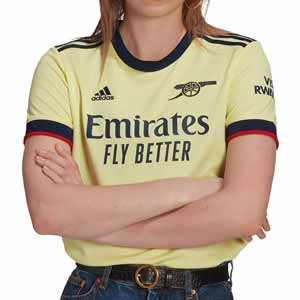Camiseta adidas 2a Arsenal mujer 2021 2022 - Camiseta segunda equipación de mujer adidas del Arsenal FC 2021 2022 - amarilla pastel - frontal