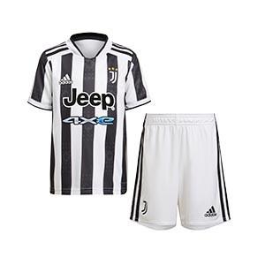 Equipación adidas Juventus niño 1-6 años 2021 2022 - Conjunto infantil primera equipación adidas Juventus 2021 2022 - blanca y negra - frontal
