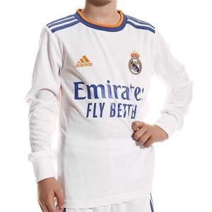 Camiseta manga larga adidas Real Madrid niño 2021 2022 - Camiseta manga larga primera equipación infantil adidas Real Madrid CF 2021 2022 - blanca - frontal