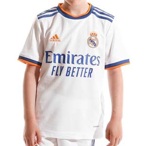 Camiseta adidas Real Madrid niño 2021 2022 - Camiseta primera equipación infantil adidas Real Madrid CF 2021 2022 - blanca - frontal