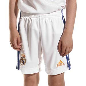 Short adidas Real Madrid niño 2021 2022 - Pantalón corto infantil primera equipación adidas Real Madrid CF 2021 2022 - blanco - frontal