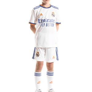 Equipación adidas Real Madrid niño 2021 2022 - Conjunto infantil 7-14 años primera equipación adidas Real Madrid CF 2021 2022 - blanco - frontal