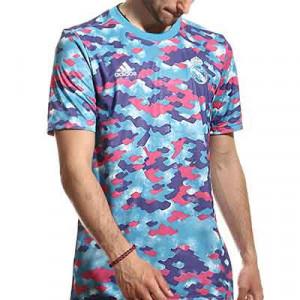 Camiseta adidas Real Madrid pre-match - Camiseta calentamiento pre-partido adidas Real Madrid CF - azul y rosa - miniatura frontal