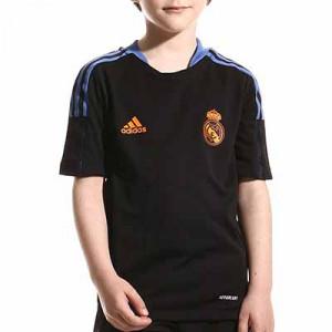 Camiseta adidas Real Madrid niño entrenamiento - Camiseta manga corta entrenamiento infantil adidas Real Madrid CF - negra - frontal