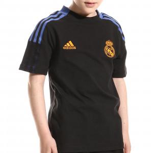 Camiseta algodón adidas Real Madrid niño entrenamiento - Camiseta manga corta de algodón entrenamiento infantil adidas Real Madrid CF - negra - miniatura frontal