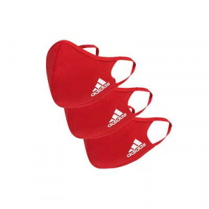 Mascarillas adidas Face Mask talla M/L pack 3 - Pack de 3 mascarillas faciales deportivas reutilizables adidas - rojas - frontal