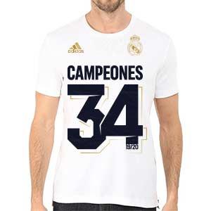 Camiseta adidas Real Madrid Campeón 34 Liga 2019 2020 - Camiseta de algodón adidas del Real Madrid Campeón La Liga 2019 2020 - blanca - frontal modelo