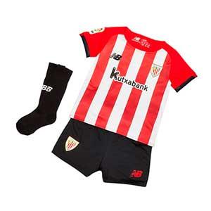 Equipación New Balance Athletic Club niño pequeño 2021 2022 - Conjunto infantil 1-7 años primera equipación New Balance del Athletic Club Bilbao 2021 2022 - rojo y blanco - frontal