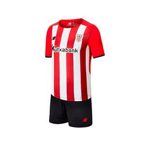 Equipación New Balance Athletic Club niño 2021 2022 - Conjunto infantil 6-13 años primera equipación New Balance del Athletic Club Bilbao 2021 2022 - rojo y blanco - frontal
