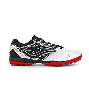 Joma Liga 5 TF - Zapatillas de fútbol multitaco Joma suela turf - negras y blancas - pie derecho
