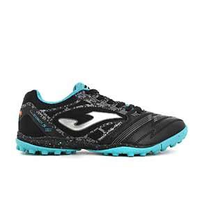 Joma Liga 5 TF - Zapatillas de fútbol multitaco Joma suela turf - negras y azul celeste - pie derecho