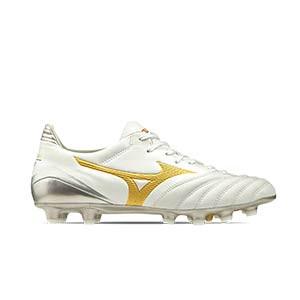 Mizuno Morelia Neo 2 KL MD - Botas de fútbol piel canguro Mizuno MD césped natural o artificial de última generación - blancas y doradas - derecho