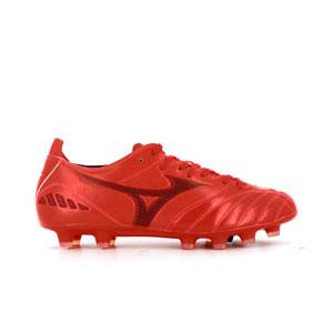 Mizuno Morelia Neo 3 Pro MD - Botas de fútbol de piel de canguro Mizuno MD para césped natural o artificial de última generación - rojas - pie derecho