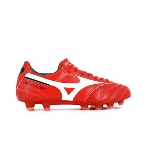 Mizuno Morelia 2 Pro MD - Botas fútbol Mizuno piel canguro MD césped natural o artificial de última generación - rojas - pie derecho