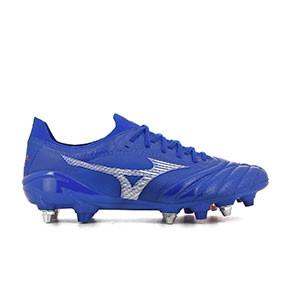 Mizuno Morelia Neo 3 Beta Japan Mix - Botas de fútbol de piel de canguro Mizuno Mix para césped natural húmedo - azules - pie derecho