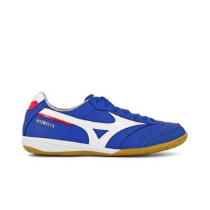Mizuno Morelia Indoor - Zapatillas de fútbol sala de piel de canguro Mizuno suela lisa - azules - pie derecho