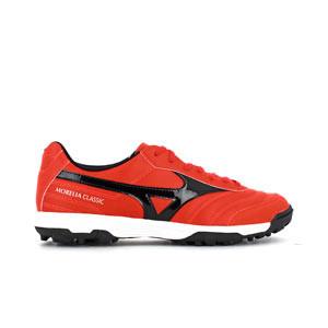 Mizuno Morelia Sala Classic TF - Zapatillas multitaco de piel sintética Mizuno suela turf - rojas - pie derecho