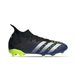 adidas Predator FREAK .2 FG - Botas de fútbol con tobillera adidas FG para césped natural o artificial de última generación - azul marino y amarillas - pie derecho