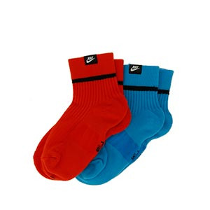 Calcetines tobilleros Nike SNKR 2 pares - Pack de 2 calcetines tobilleros Nike - rojos y azules - frontal
