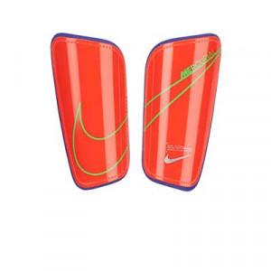 Nike Mercurial Hard Shell - Espinilleras de fútbol Nike con cintas de velcro - rosas rojizas - frontal
