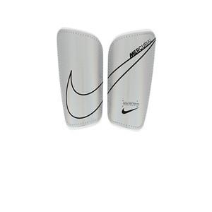 Nike Mercurial Hard Shell - Espinilleras de fútbol Nike con cintas de velcro - plateadas - frontal