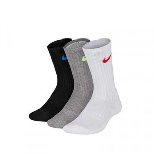 Pack calcetines media caña Nike Cushion Crew niño - Pack de 3 calcetines Nike Cushion Crew media caña - blanco, gris y negro - frontal