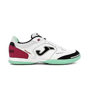 Joma Top Flex 2042 - Zapatillas de fútbol sala de piel Joma suela lisa IN - blancas y rosas - pie izquierdo