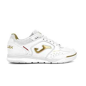 Joma Top Flex Rebound - Zapatillas de fútbol sala de piel Joma suela lisa IN - blancas y doradas - pie derecho
