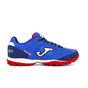 Joma Top Flex TF - Zapatillas multitaco de piel Joma suela turf - azules - pie derecho