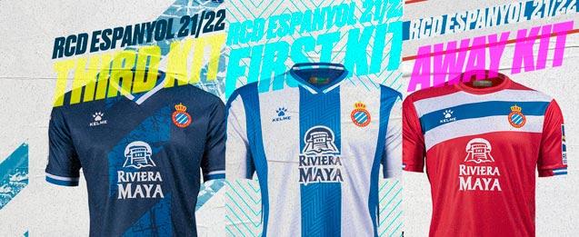 1, 2 y 3 equipacion del equipo RCD Espanyol para la temporada 2021 2022