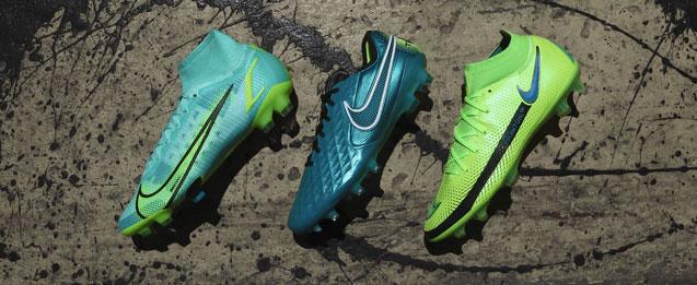 botas Nike de la colección Impulse Pack, Phantom, Mercurial y Tiempo color turquesa.