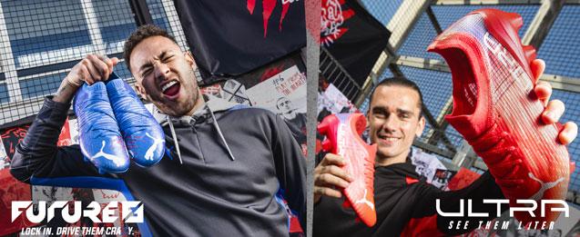 Botas de fútbol Puma Future color azul llevado por el jugador Neymar y bota Ultra color roja llevado por el jugador Griezmann.