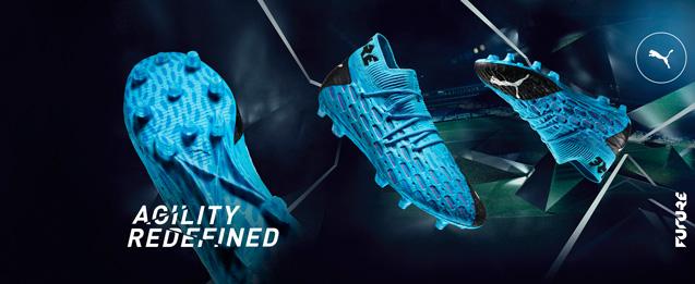 Botas de fútbol Puma color azul con detalles rojos, colección Puma future
