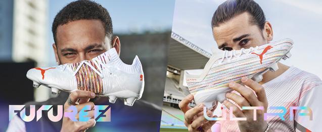 Botas de fútbol Puma Future color blanco llevado por el jugador Neymar y Ultra color blanco llevado por el jugador Griezmann.
